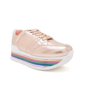 Rose Gold Rainbow Platform Sneakers Sz 7